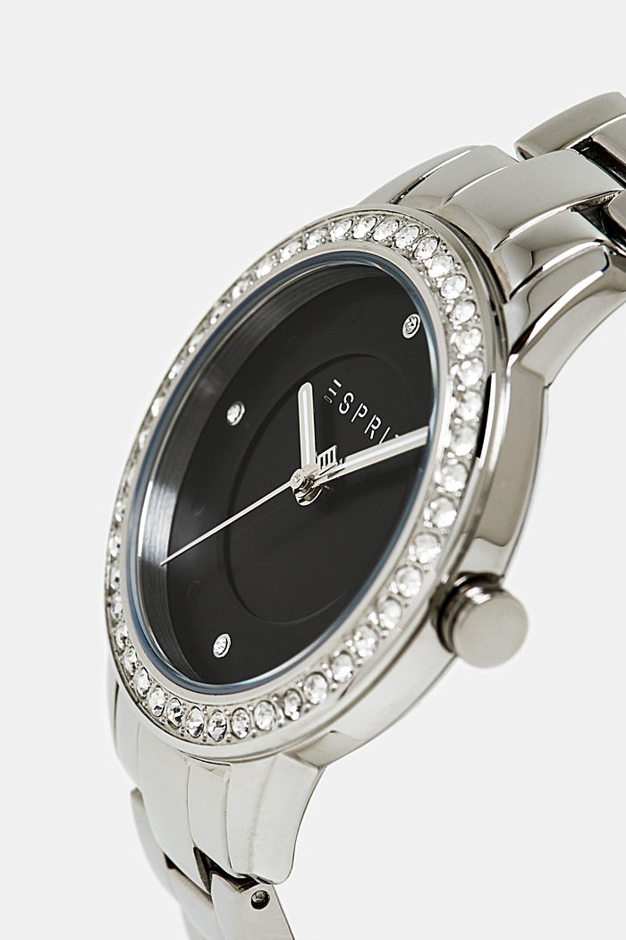 Stainless steel watch with zirconia, SILVER, detail image number 1