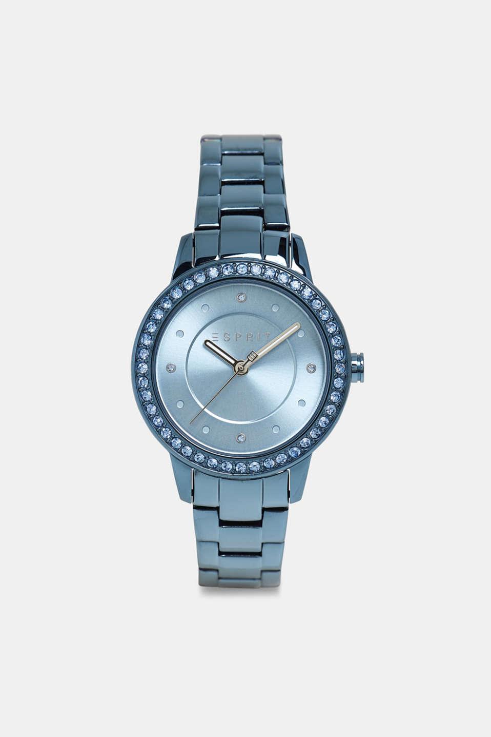 Gemstone watch with zirconia, BLUE, detail image number 0