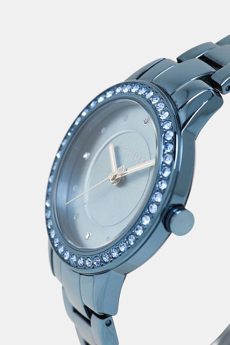 Gemstone watch with zirconia, BLUE, detail image number 1