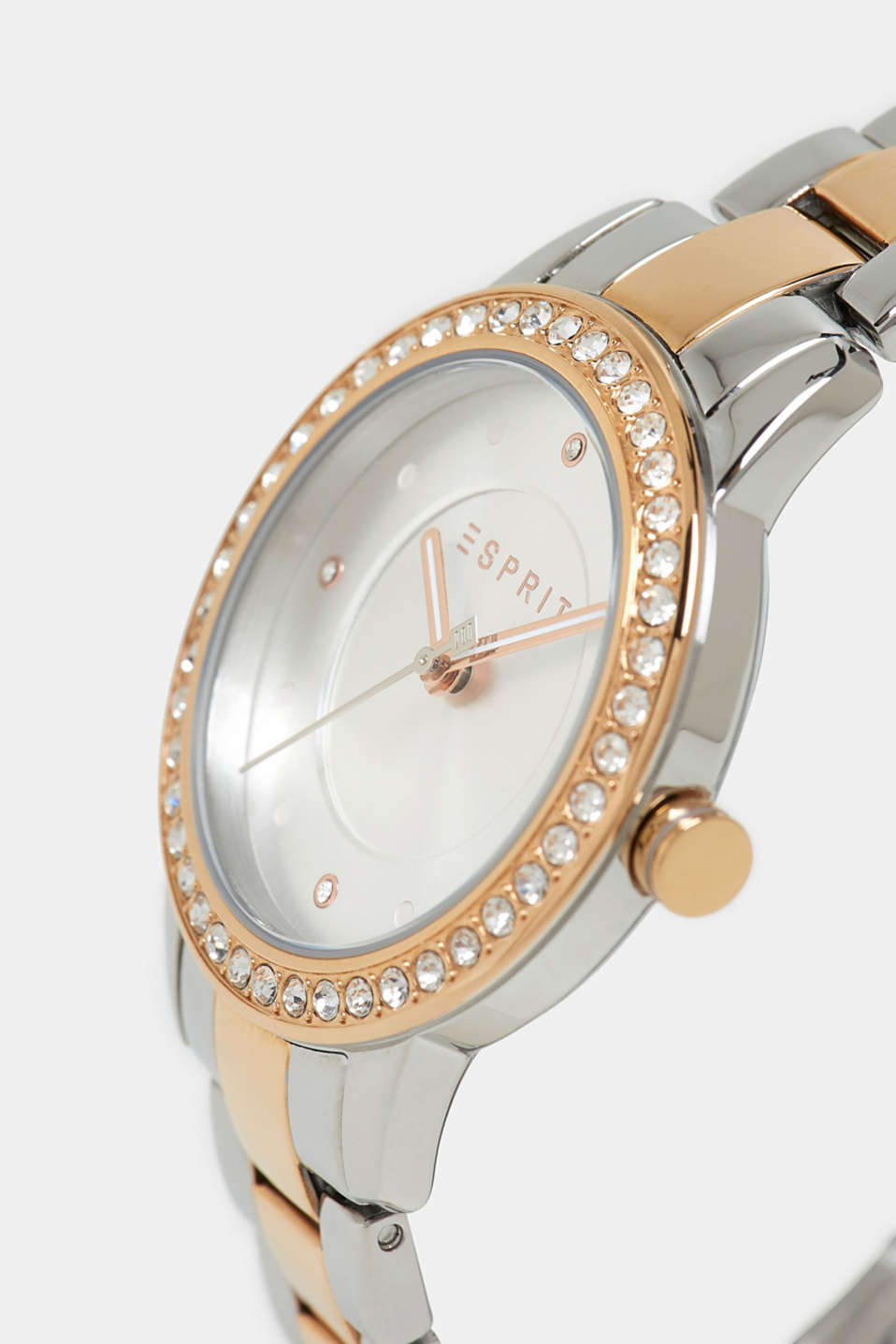 Gemstone watch with zirconia, ROSEGOLD, detail image number 1