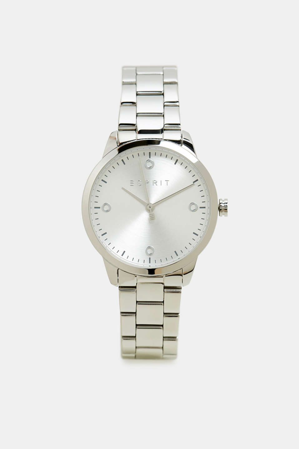 Stainless-steel watch with link bracelet, SILVER, detail image number 0