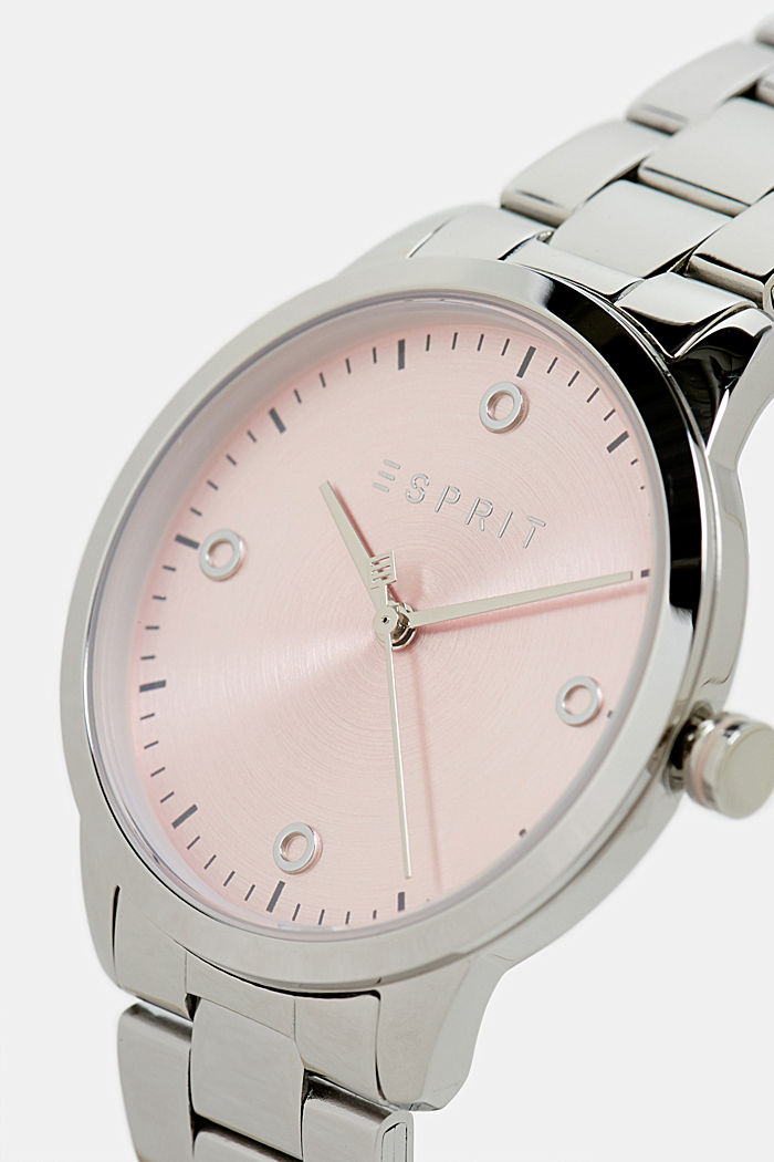 Stainless-steel watch with link bracelet, SILVER, detail image number 1