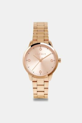Stainless-steel watch with link bracelet, ROSEGOLD, detail
