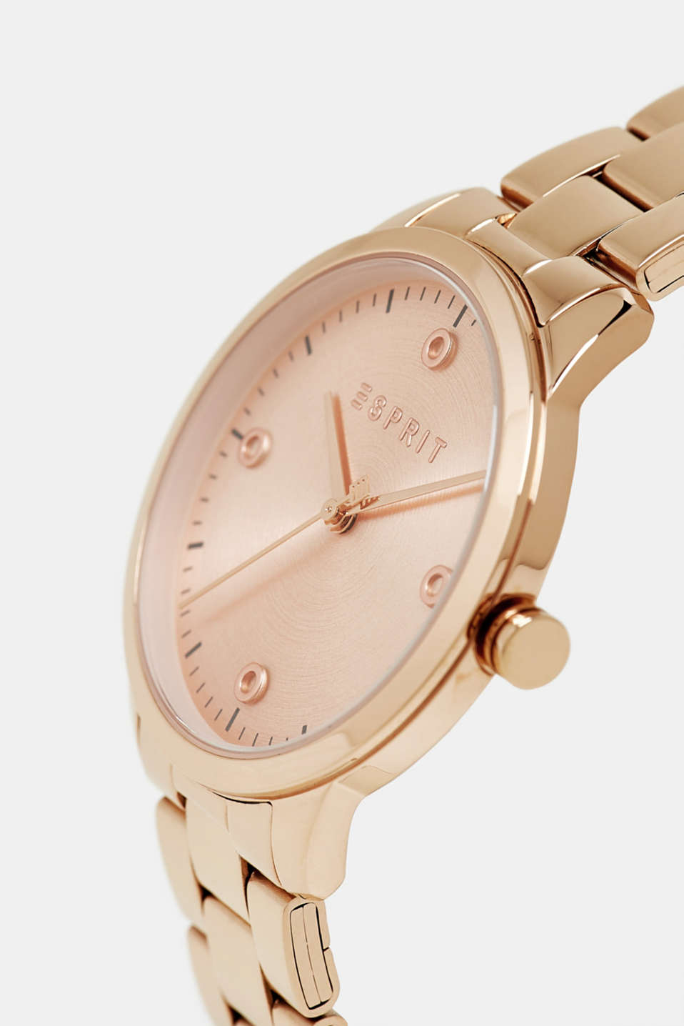 Stainless-steel watch with link bracelet, ROSEGOLD, detail image number 1