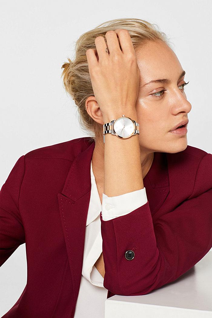 Edelstahl-Uhr mit Gliederarmband, ROSEGOLD, detail image number 2