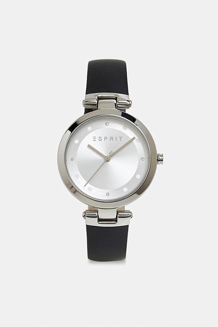 Edelstahl-Uhr mit Zirkonia und Leder-Armband, BLACK, detail image number 0