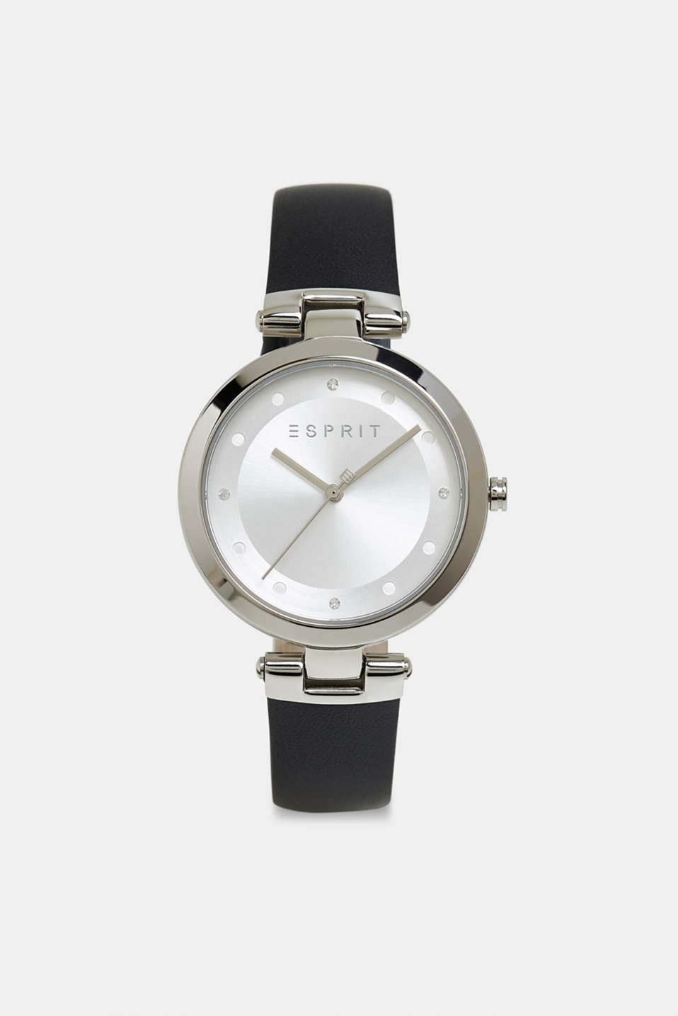 Stainless-steel watch with zirconia and leather strap, BLACK, detail image number 0