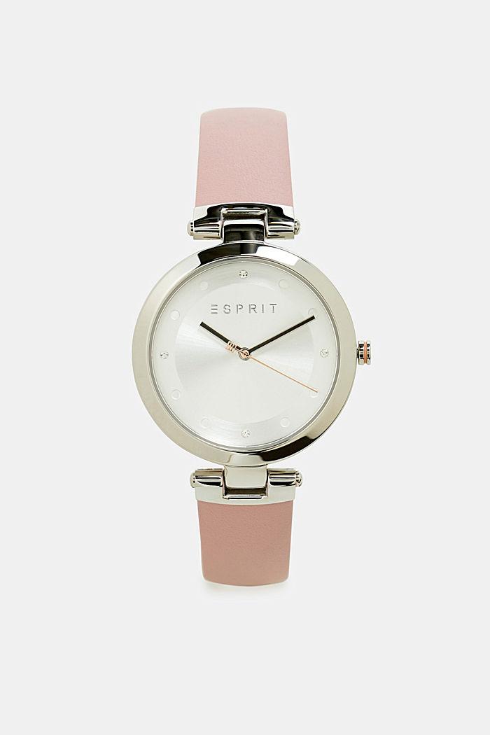 Edelstahl-Uhr mit Leder-Armband, PINK, detail image number 0