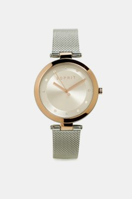 Stainless steel watch with a mesh strap, SILVER, detail