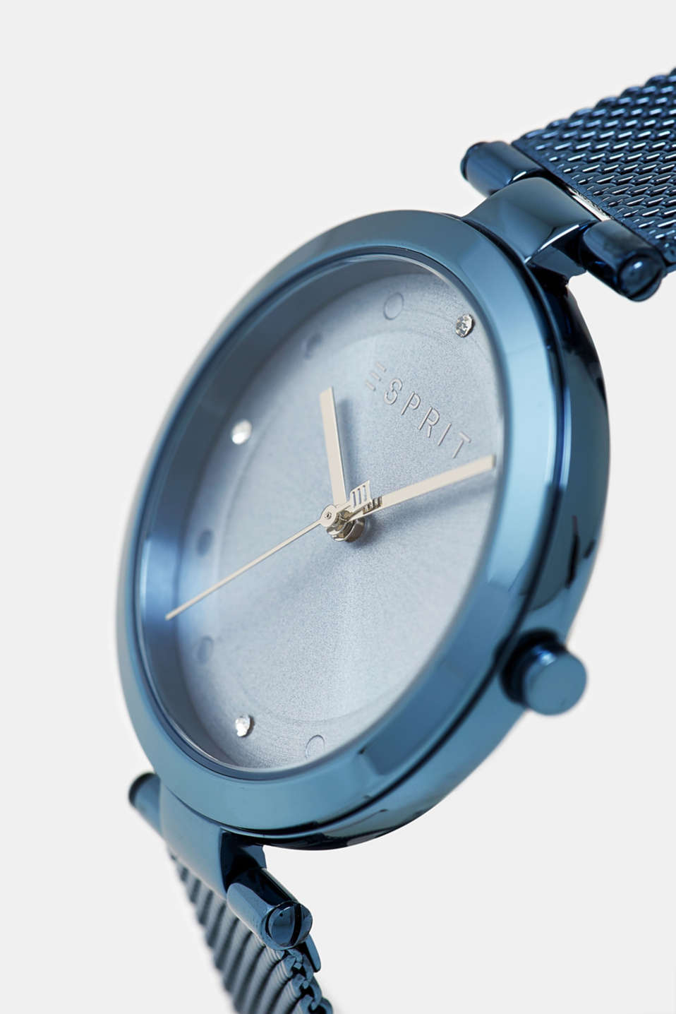 Stainless steel watch with blue plating, BLUE, detail image number 1