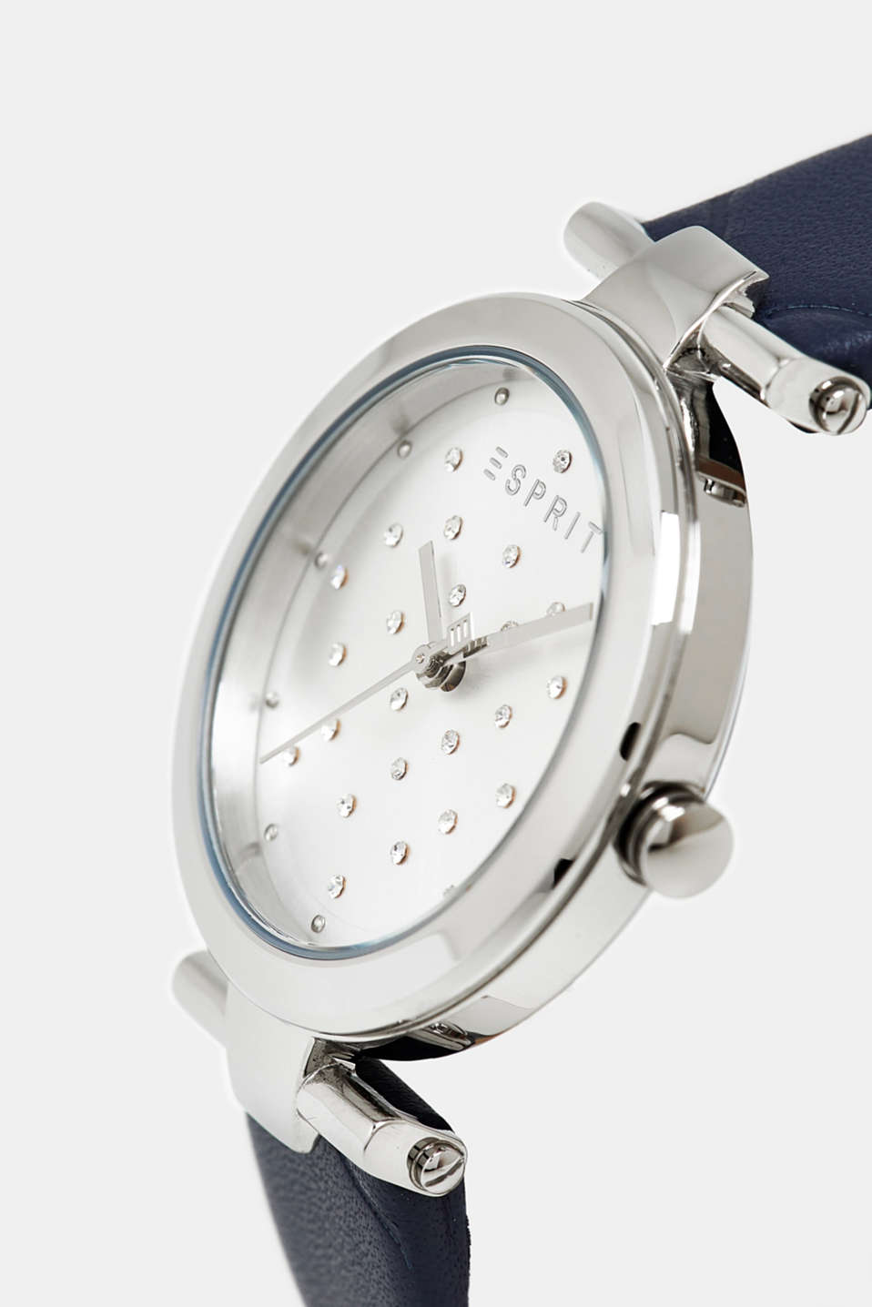 Stainless-steel watch with zirconia and leather strap, BLUE, detail image number 1