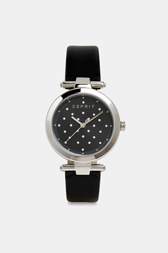 Stainless-steel watch with zirconia and leather strap