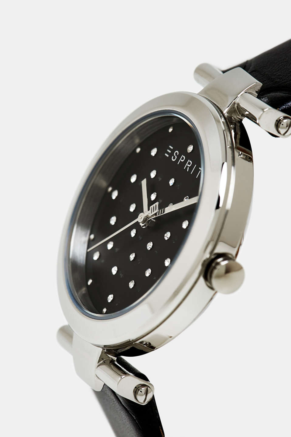 Stainless-steel watch with zirconia and leather strap, BLACK, detail image number 1