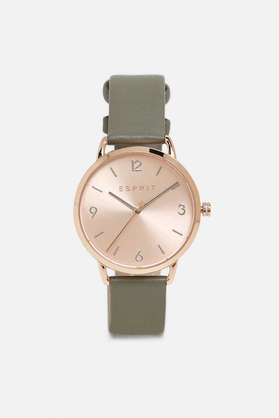 Stainless-steel watch with a leather strap, GREY, detail image number 0