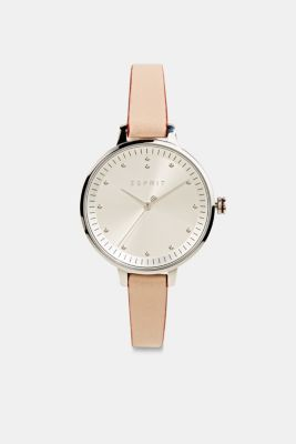 Watch with narrow leather strap, stainless steel, BEIGE, detail