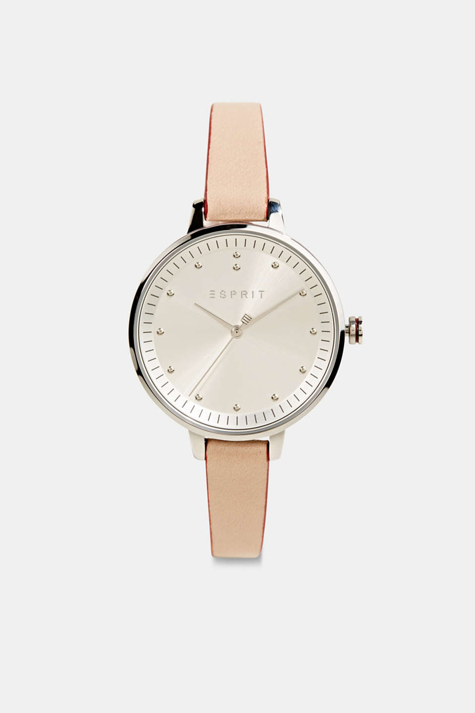 Watch with narrow leather strap, stainless steel, LCBEIGE, detail image number 0