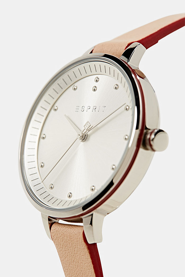 Watch with narrow leather strap, stainless steel, BEIGE, detail image number 1