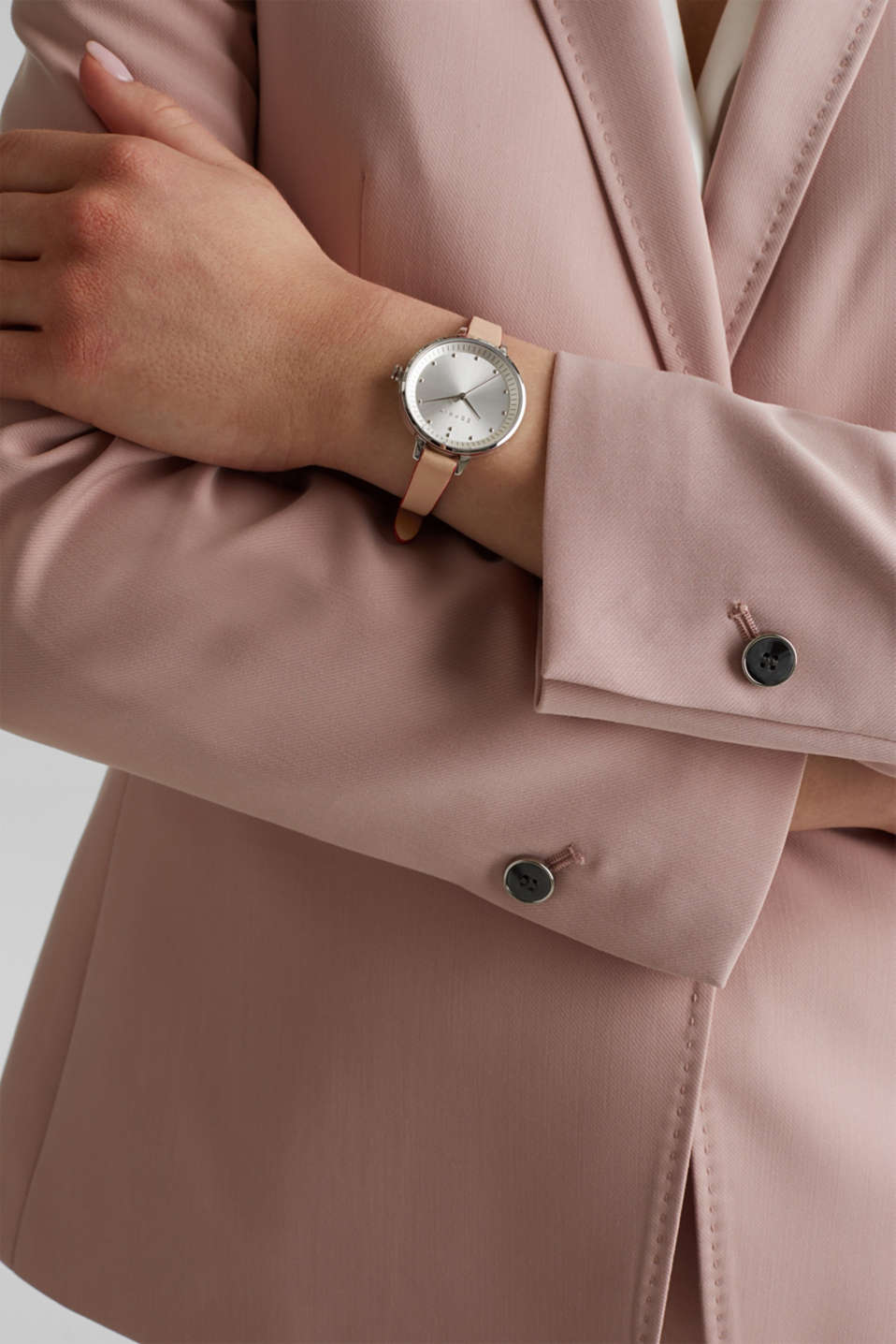 Watch with narrow leather strap, stainless steel, LCBEIGE, detail image number 2