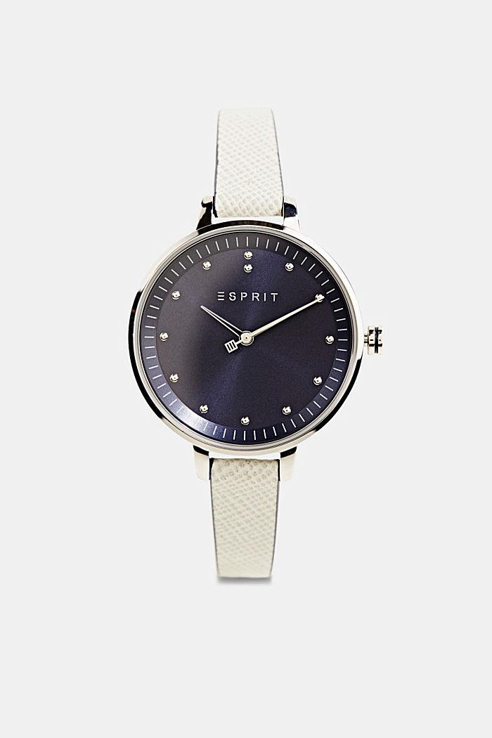 Edelstahl-Uhr mit Leder-Armband