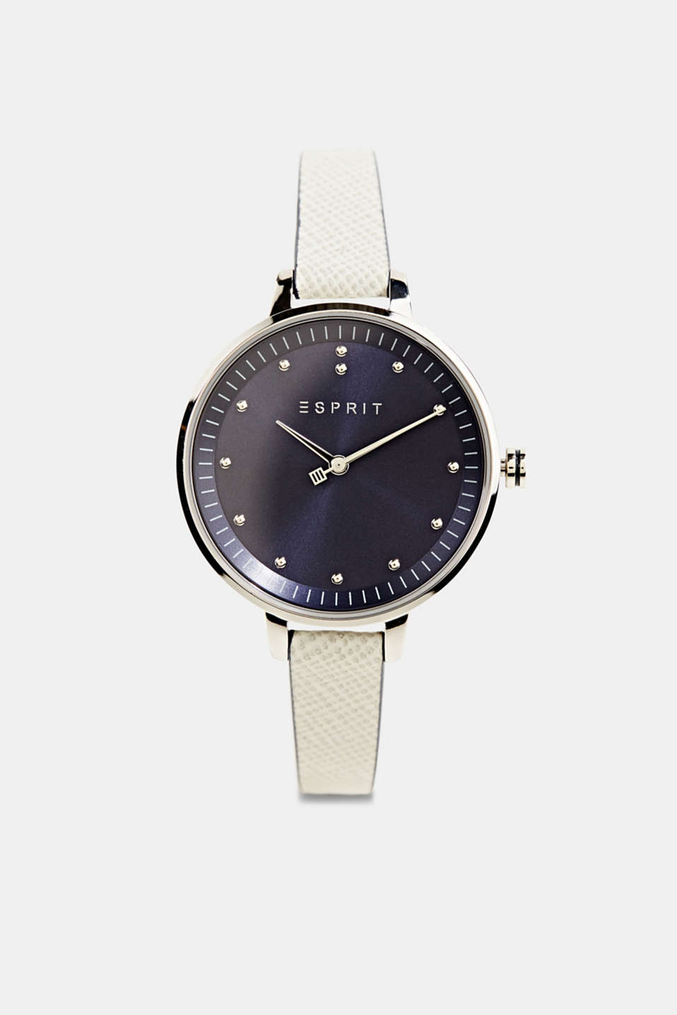 Stainless-steel watch with a leather strap, LCGREY, detail image number 0