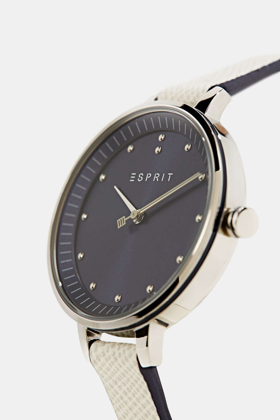 Stainless-steel watch with a leather strap, LCGREY, detail image number 1