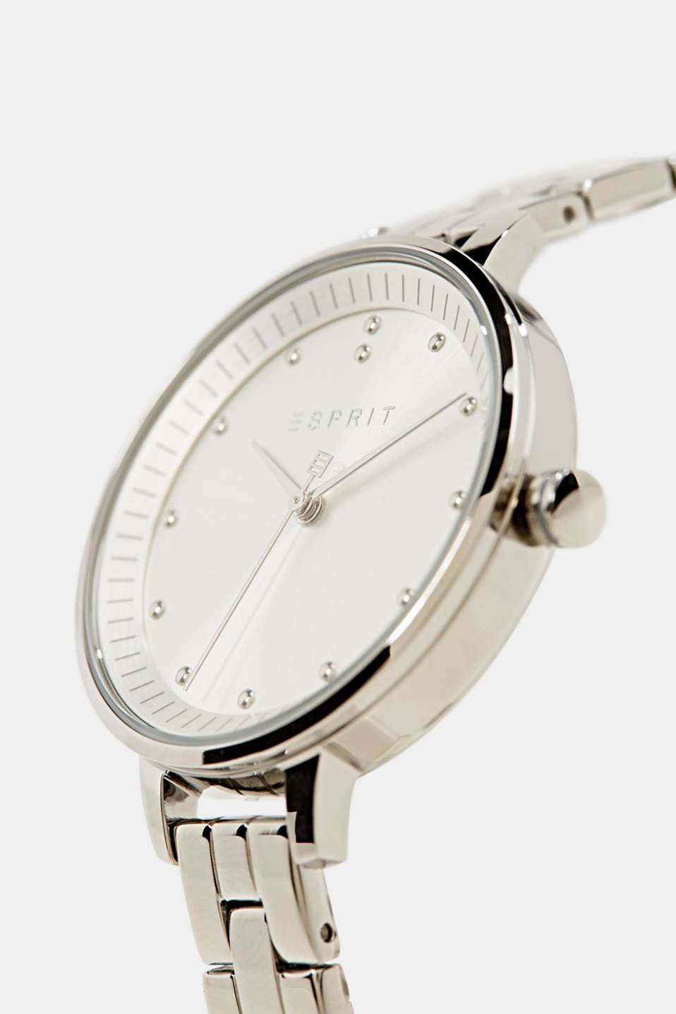 Stainless-steel watch with link bracelet, LCSILVER, detail image number 1