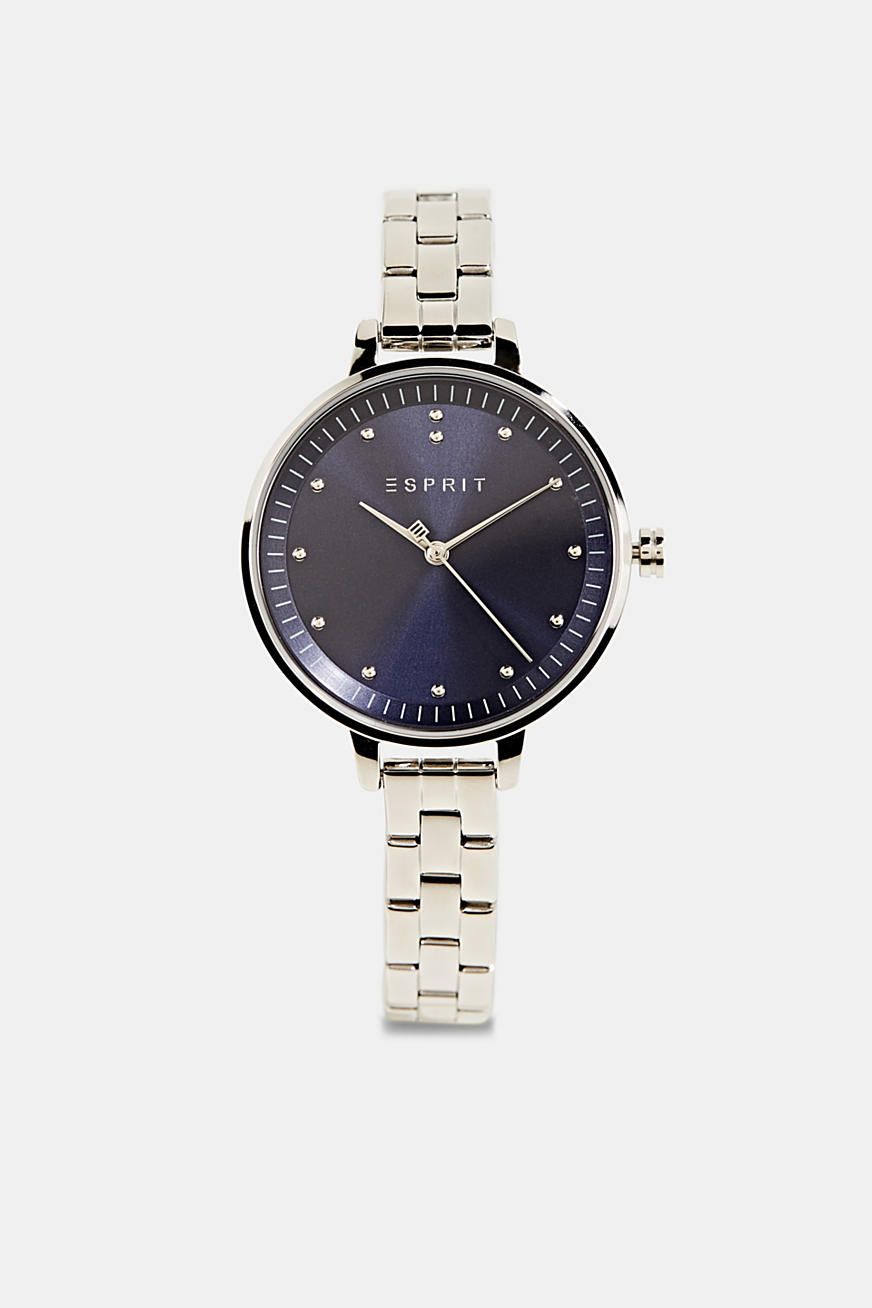 Watch with link strap, stainless steel