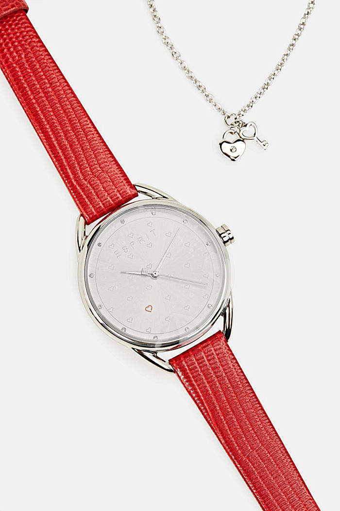 Bracelet and watch set, stainless steel, RED, overview