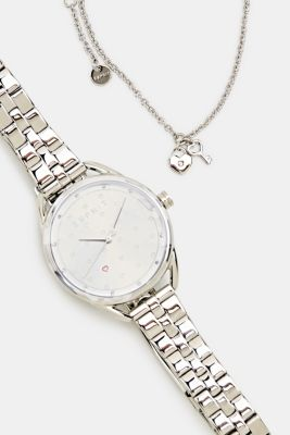 Bracelet and watch set, stainless steel, SILVER, detail
