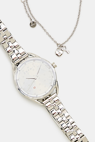 Bracelet and watch set, stainless steel