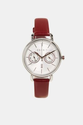 Multi-functional watch with a leather strap, BORDEAUX RED, detail