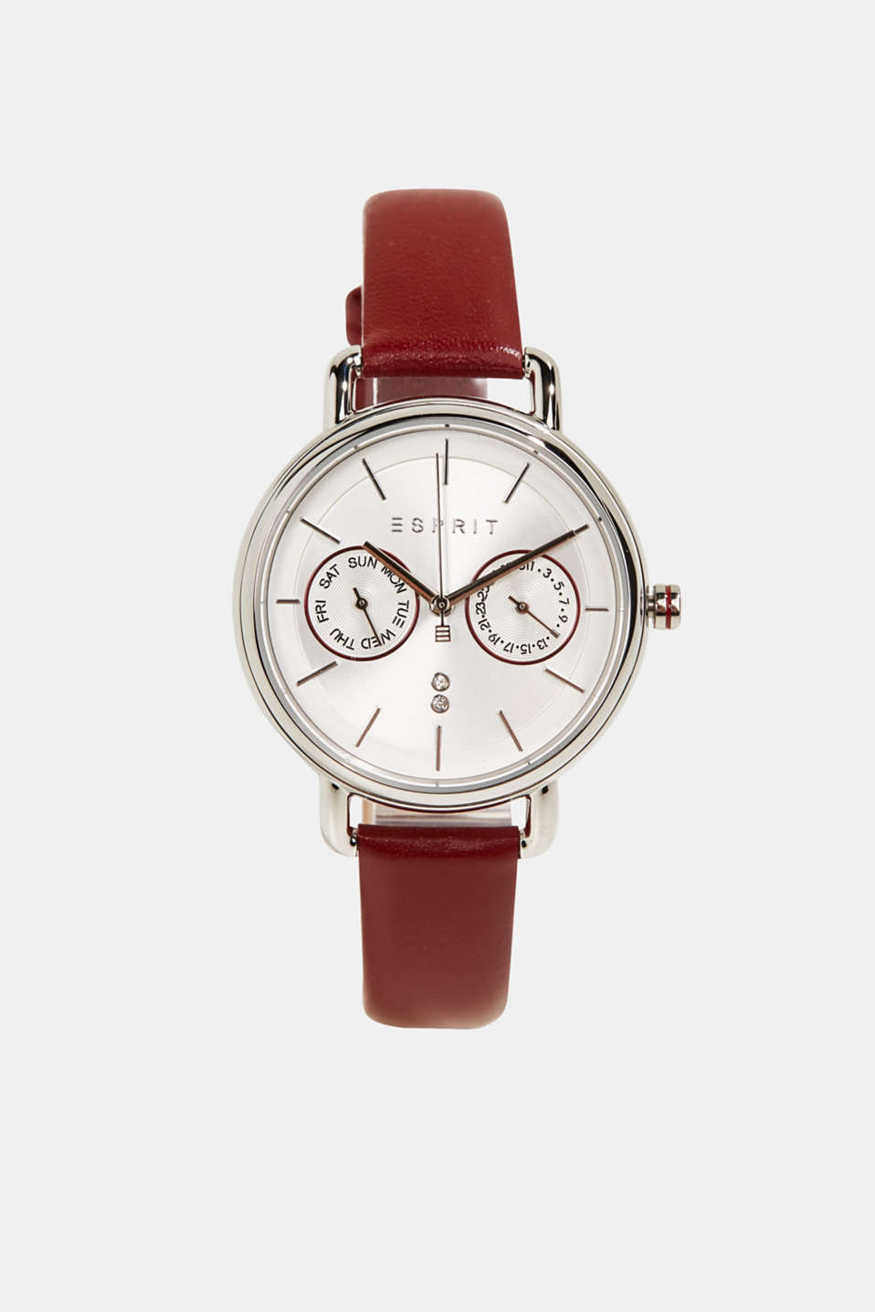 Stainless steel chronograph with a leather bracelet, LCBORDEAUX RED, detail image number 0