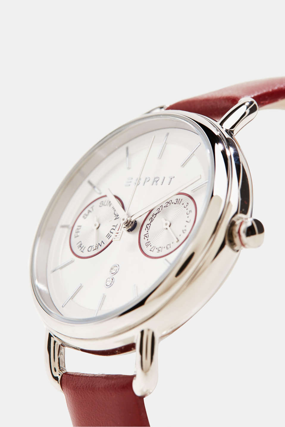 Stainless steel chronograph with a leather bracelet, LCBORDEAUX RED, detail image number 1