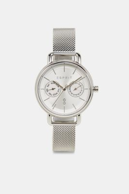 Multi-functional watch with a mesh strap, SILVER, detail