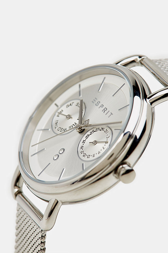 Multi-functional watch with a mesh strap, SILVER, detail image number 1