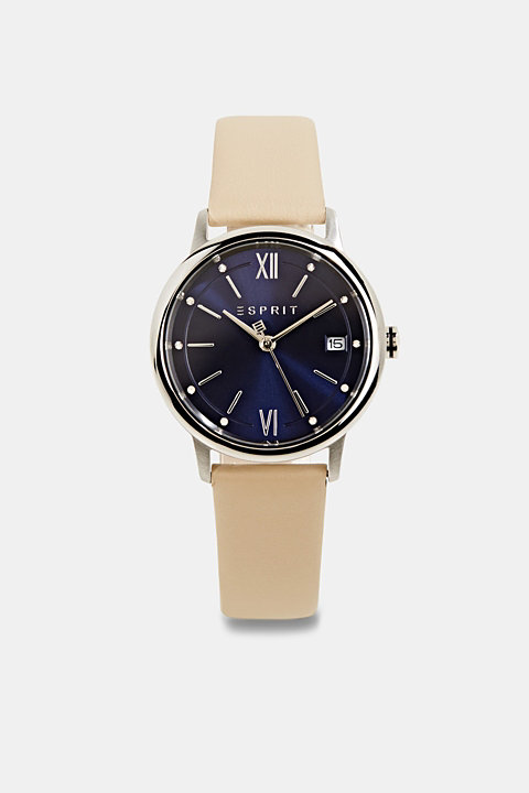 Watch with leather strap, stainless steel