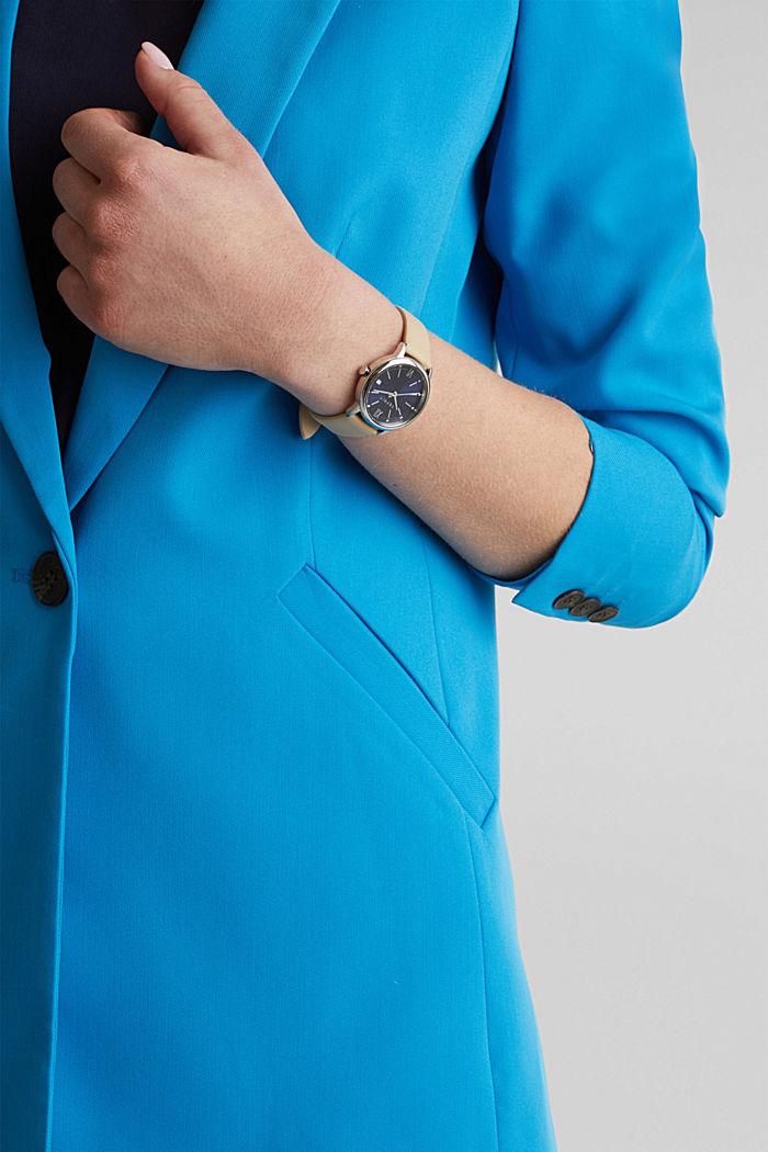 Uhr mit Leder-Armband, Edelstahl