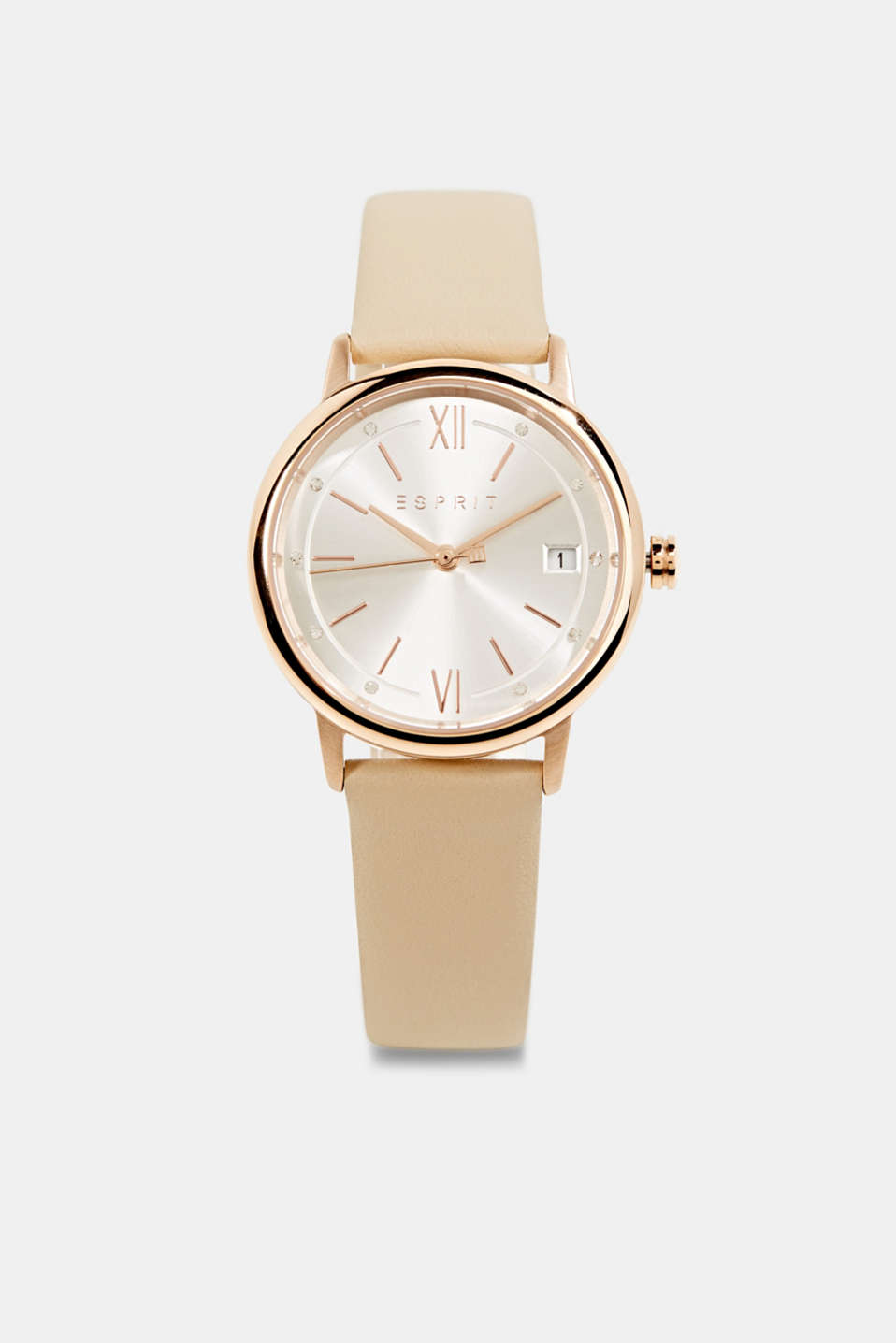 Esprit - Watch with leather strap, stainless steel