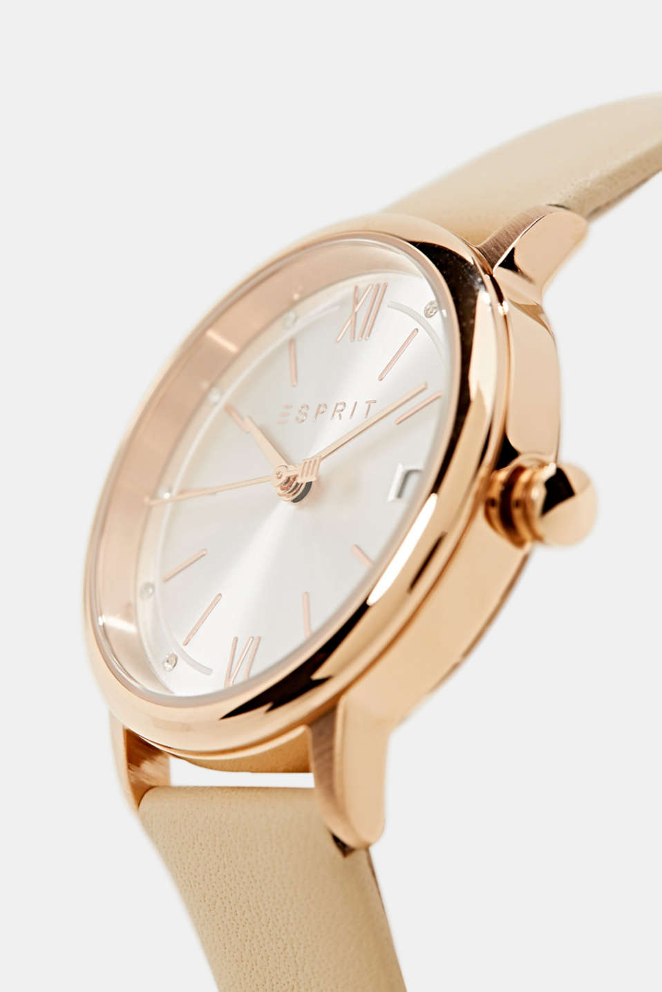 Watch with leather strap, stainless steel, LCBEIGE, detail image number 1