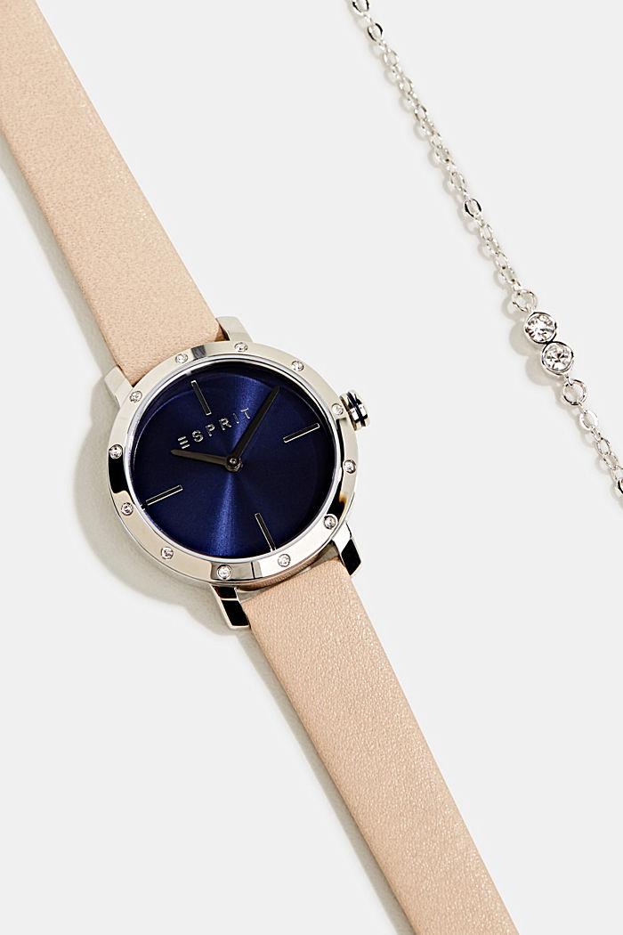 Watch and bracelet set, BEIGE, detail image number 1