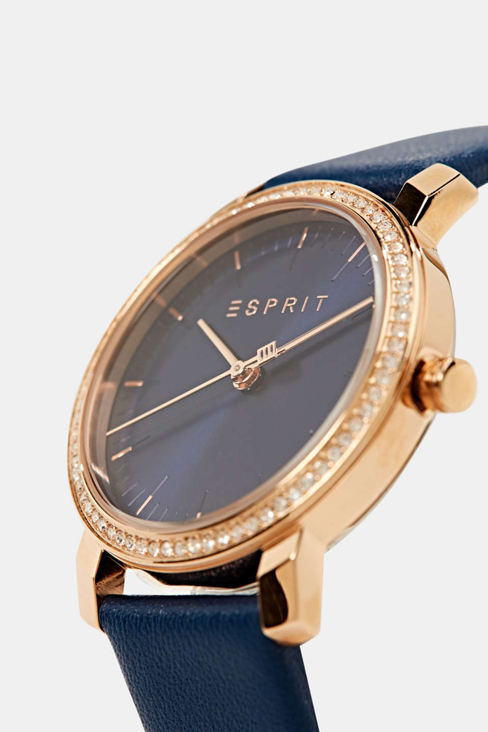 Watch with zirconia and leather strap, stainless steel, LCBLUE, detail image number 1