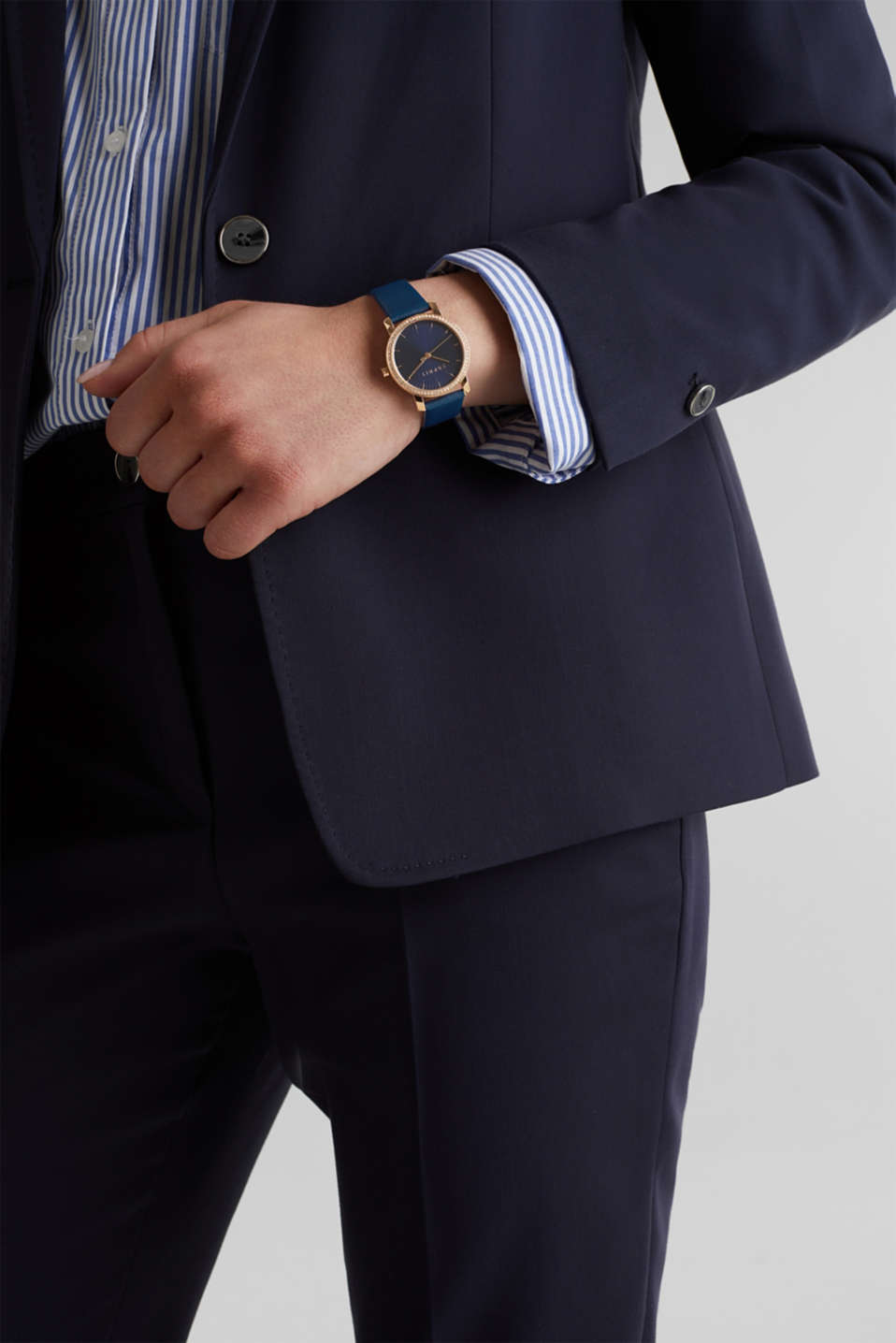 Watch with zirconia and leather strap, stainless steel, LCBLUE, detail image number 2