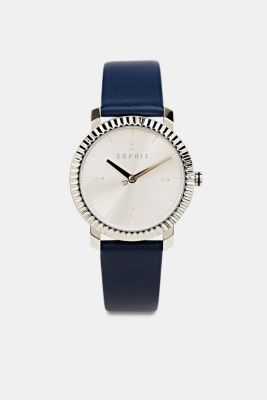 Stainless-steel watch with zirconia and a leather strap, BLUE, detail