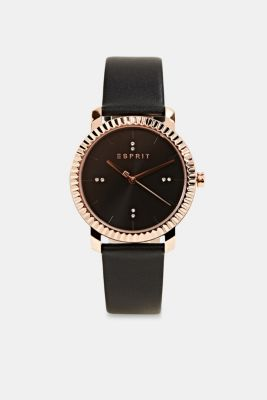 Watch with leather strap, stainless steel, BLACK, detail