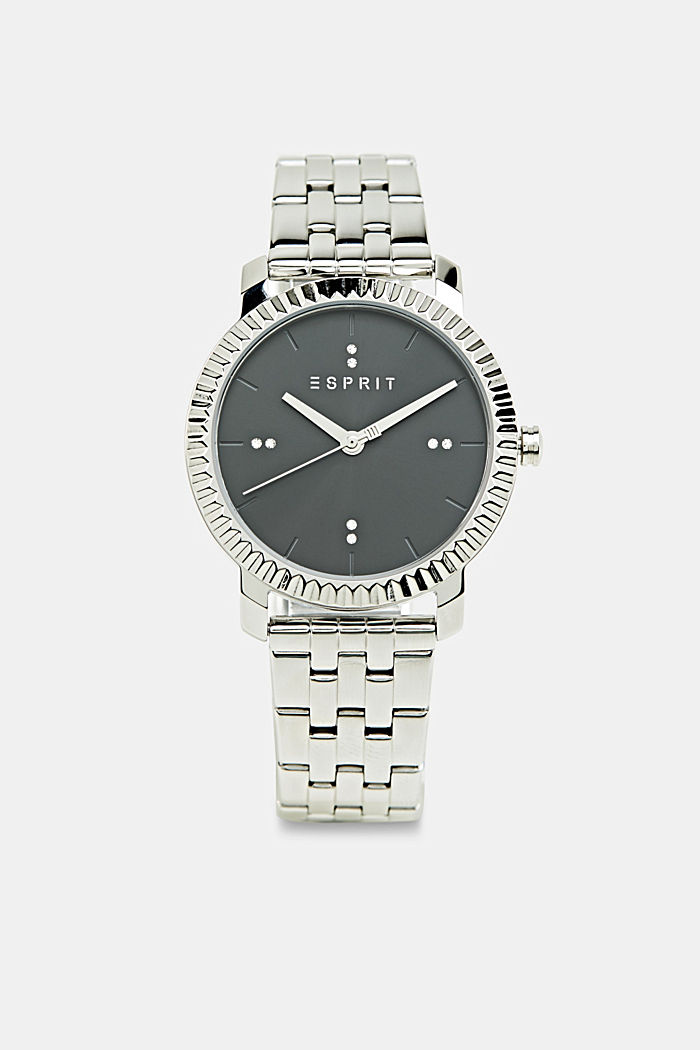 Stainless-steel watch trimmed with zirconia, SILVER, detail image number 0