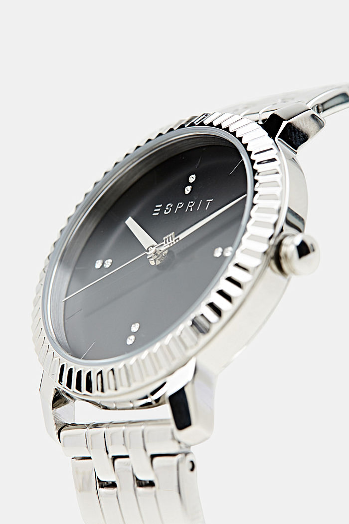 Stainless-steel watch trimmed with zirconia, SILVER, detail image number 1