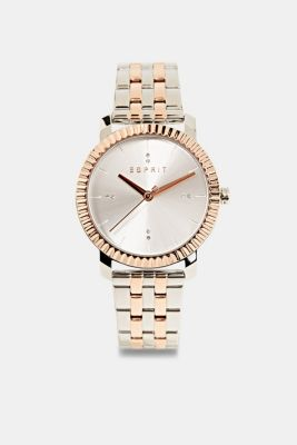 Stainless-steel watch with rose gold plating, SILVER, detail