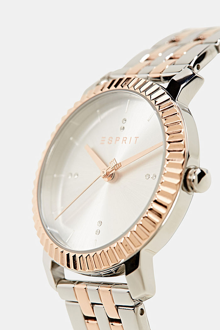 Stainless-steel watch with rose gold plating, SILVER, detail image number 1