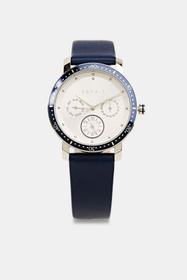 Multi-functional watch with a leather strap, LCBLUE, detail