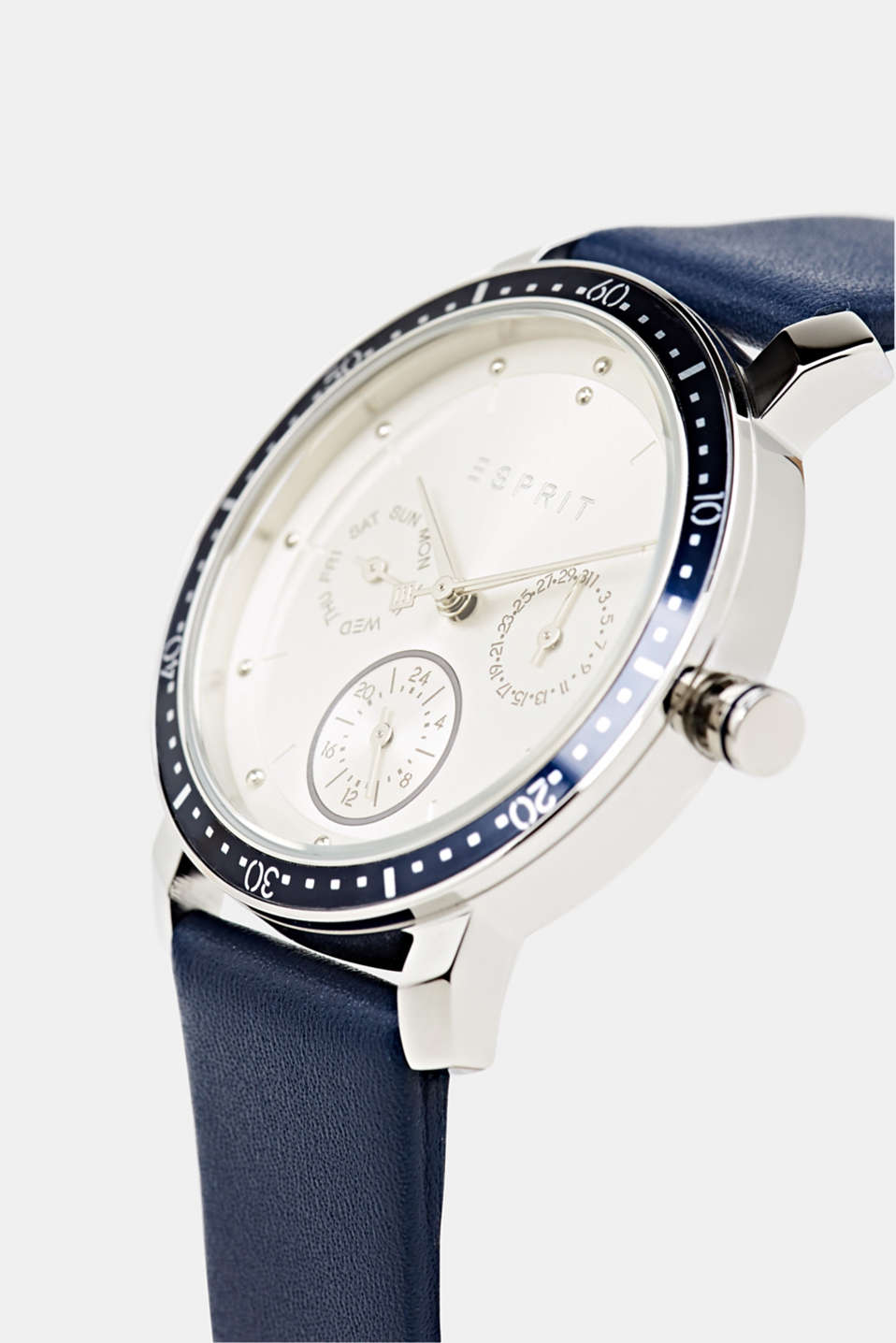 Multi-functional watch with a leather strap, LCBLUE, detail image number 1